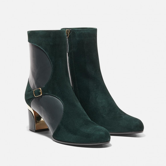 Jeje - Forest Green Suede and Nappa